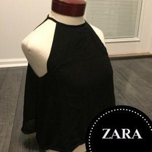 ZARA BASIC HIGH NECK FLOWY CROP TOP